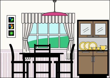 cutaway: Dining Room with Fittings - this file will fit straight into the large 3-level house vector with blank rooms - please see my portfolio for Large Cutaway House Ready to Decorate Illustration