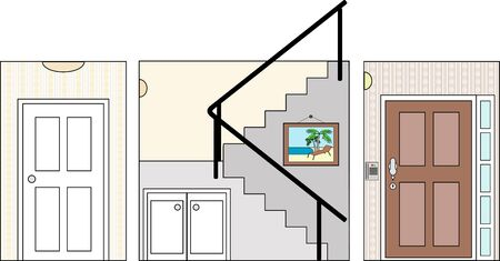 bannister: Hall Stair and Entry with Fittings - this file will fit straight into the large 3-level house vector with blank rooms - please see my portfolio for Large Cutaway House Ready to Decorate