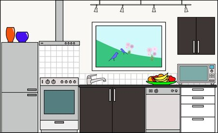 sections: Kitchen with Fittings - this file will fit straight into the large 3-level house vector with blank rooms - please see my portfolio for Large Cutaway House Ready to Decorate
