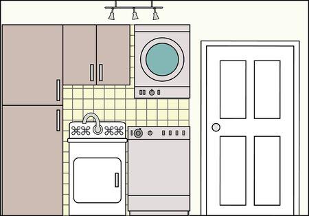 Wasruimte met Fittings - dit bestand wordt direct passen in de grote 3-niveau huis vector met lege kamers - zie mijn portfolio voor Groot Schema Huis Klaar om Versier