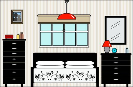 furniture detail: Master Bedroom with Fittings - this file will fit straight into the large 3-level house vector with blank rooms - please see my portfolio for Large Cutaway House Ready to Decorate Illustration