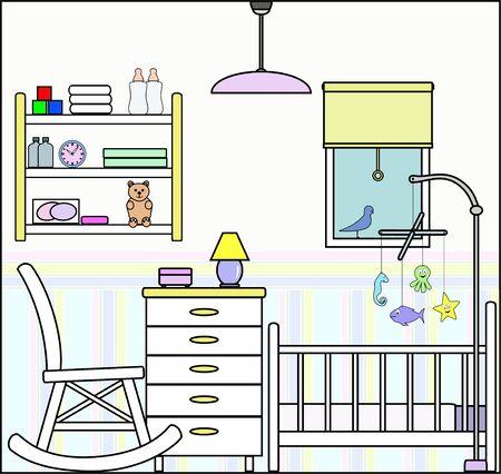 Kwekerij slaapkamer met Fittings - dit bestand wordt direct passen in de grote 3-niveau huis vector met lege kamers - zie mijn portfolio voor Groot Schema Huis Klaar om Versier Stock Illustratie