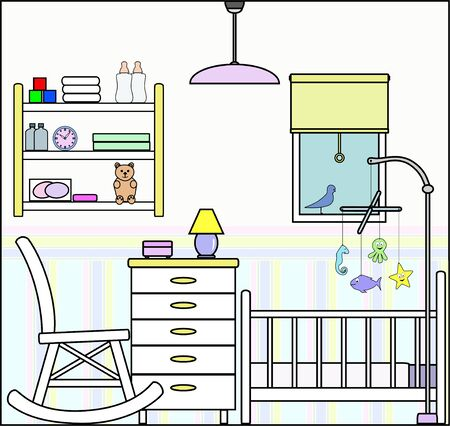 Nursery Bedroom with Fittings - this file will fit straight into the large 3-level house vector with blank rooms - please see my portfolio for Large Cutaway House Ready to Decorate