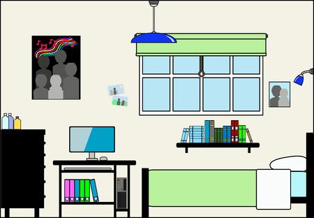 Teen Bedroom met Fittings - dit bestand wordt direct passen in de grote 3-niveau huis vector met lege kamers - zie mijn portfolio voor Groot Schema Huis Klaar om Versier Stock Illustratie
