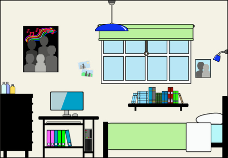 bedroom wall: Teen Bedroom with Fittings - this file will fit straight into the large 3-level house vector with blank rooms - please see my portfolio for Large Cutaway House Ready to Decorate Illustration
