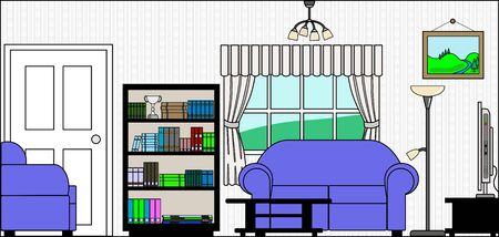 Lounge of Sitting Room met Fittings - dit bestand wordt direct passen in de grote 3-niveau huis vector met lege kamers - zie mijn portfolio voor Groot Schema Huis Klaar om Versier