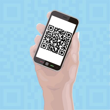 Hand holding Cellphone with fictitious QR Code Layered EPS10