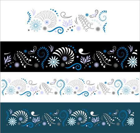 Stylised Maori Koru with Nautilus Seamless Color Border 일러스트