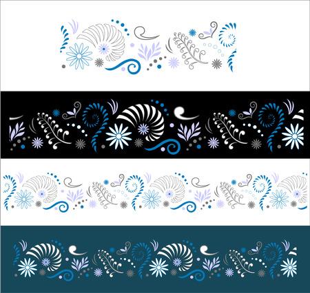 ferns: Stylised Maori Koru with Nautilus Seamless Color Border Illustration
