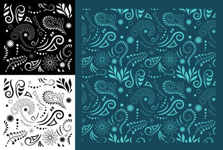 様式化されたマオリ コル シームレス パターン - 簡単な色を変更するには
