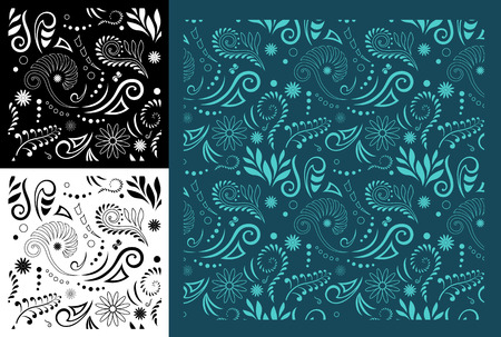 Stylised Maori Koru Seamless Pattern - Easy to change color Zdjęcie Seryjne - 42848900