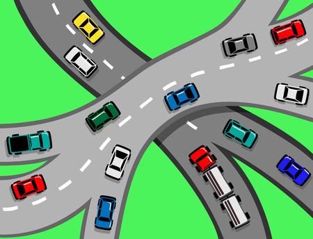 Verkeer met auto's en vrachtwagens op een snelweg of een knooppunt EPS8