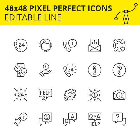 Semplice set di icone per supporto tecnico e assistenza 24\7. Ricevi la risposta in qualsiasi momento o consulta lo specialista del nostro call-center. Contiene icone come ricevitore, aiuto, operatore, auricolare. Pixel Perfect Modificabile Set 48x48.