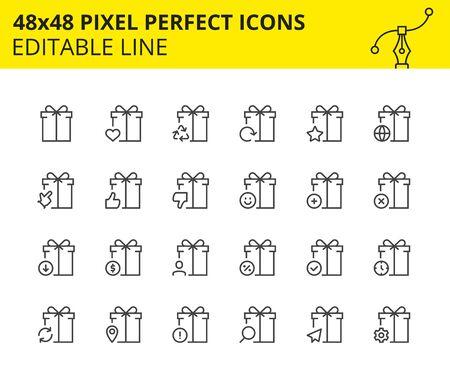 Modèles d'icônes de cadeaux, de boîtes de surprises et de symboles sur eux. Comprend l'arc, la livraison, le ruban, la recherche, etc. Pixel Perfect 48x48, mis à l'échelle. Vecteur.