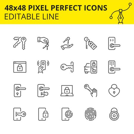 Scaled Icons of Keys, Locks and Security. Includes Fingerprint, Touch lock, Car Keys. Pixel Perfect Editable Set 48x48. Vector. Çizim