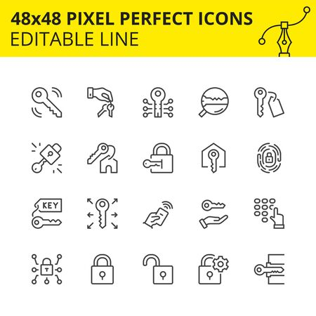 Icons of Keys, Locks and Safety. Includes Fingerprint, Remote Controller, Keypad. Pixel Perfect Scaled Set 48x48. Vector.