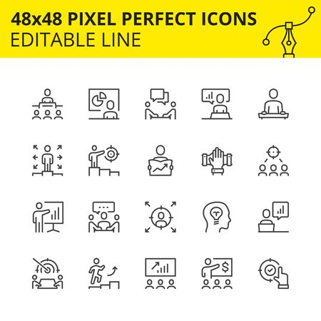 Scaled Icons - Business Training. Includes Diagram, Board, Manager, Teacher etc. Pixel Perfect 48x48, Editable Set. Vector.