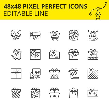 Editable Icons of Gifts, Surprises and Shopping. Includes Gift card, Delivery, Boxes, Ð¡art etc. Pixel Perfect, 48x48  Scale Set. Vector.