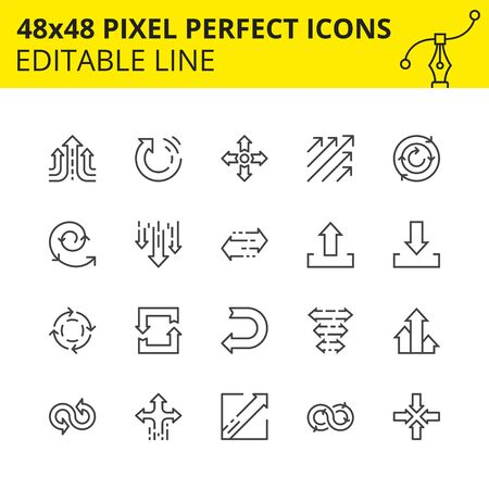 Simple Set Icons - Arrows for info graphics, websites and mobile applications. Includes Spiral, Update, Back, Crossroads, etc. Pixel Perfect 48x48, Scaled Set. Vector. Stock Illustratie
