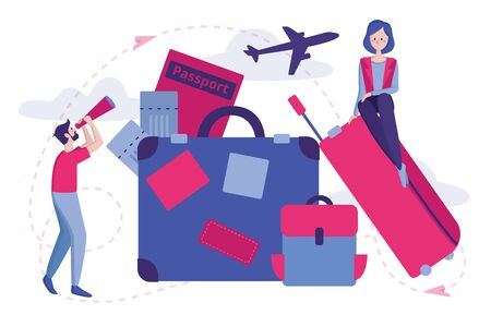 Vector color illustration. People is relaxing and dreaming about trip and vacation. Tourism and Summer Vacation. Travel luggage concept. Concept of vacation planning. Vectores