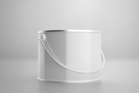 Blank white paint can with handle mockup, clear closed paint bucket, 3d rendering, isolated on light background Stockfoto