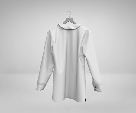 Blank White mans long sleeves Shirt Mockup, Male white shirt mockup 3d rendering isolated on light background, Short sleeves cotton dress with collar