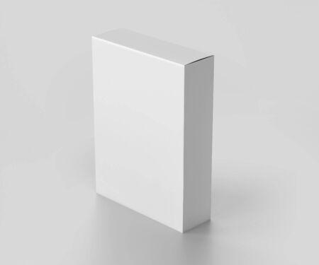 Maquette de boîte de logiciel blanche vierge, boîte d'emballage en carton de taille moyenne, rendu 3d isolé sur fond gris clair, prêt pour votre conception