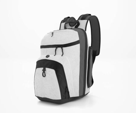 White Backpack Mockup, Blank School Backpack, Traveling bag 3d Rendering Isolated on light background, ready for your design