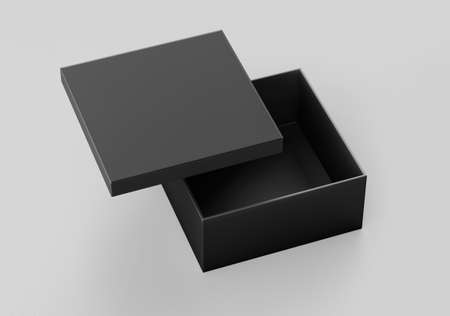 Black Square Box Mockup, Dark paper shoe box cardboard box container, 3d rendered isolated on light background Stock Photo