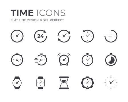 Set of Time and Clock Vector Icons. Contain Icons as Alarm, Stopwatch, Timer and more. 向量圖像