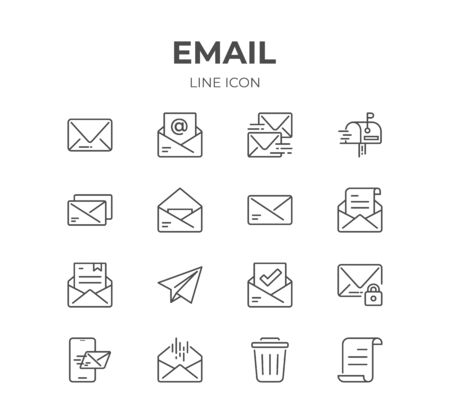 Simple Set of Email Line Icons. Contain such Icons as Envelope, Newsletter, Mailbox and more. Editable Stroke. Pixel Perfect. Stock Illustratie
