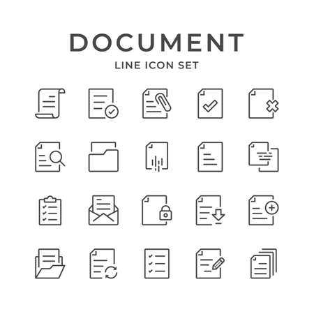 Document Line Icons Set. Editable Stroke. 48x48 Pixel Perfect