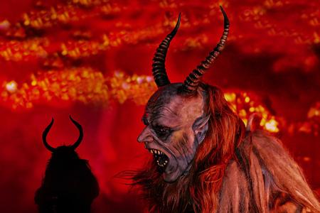 Demon with long horns. 版權商用圖片
