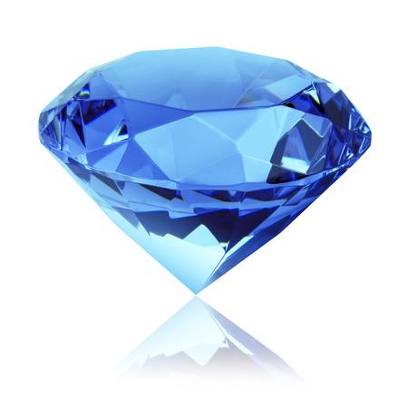 zafiro: aislado diamante azul Foto de archivo