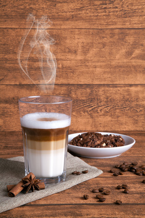 steaming coffee: coffee background Stock Photo