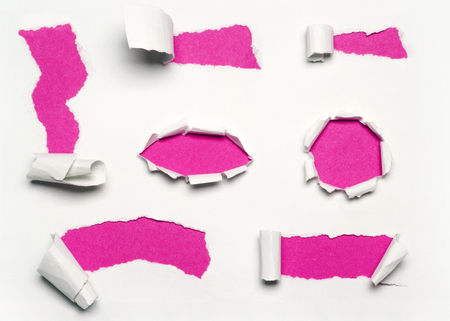 torn paper background: pink paper set Stock Photo