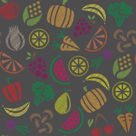 fruits and vegetables: seamless background with fruits and vegetables