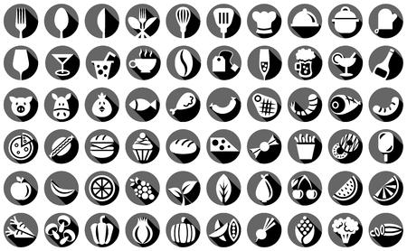black food icons set Ilustração