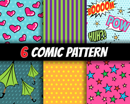seamless comic pattern vector set