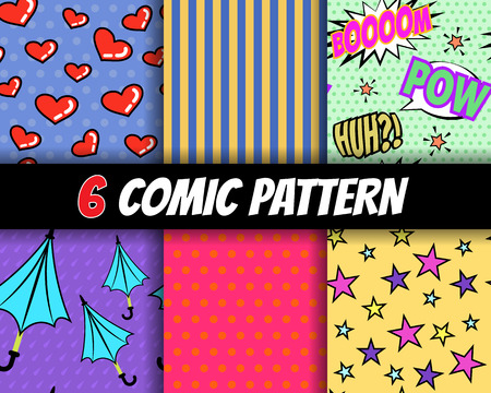seamless comic pattern vector set Vector