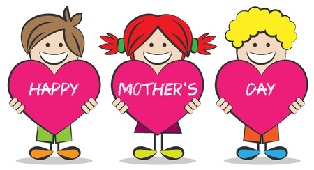 love mom: mothers day kids are holding hearts