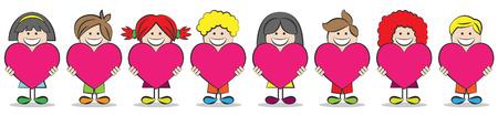 children are holding hearts illustration Ilustração