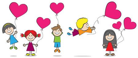 balloon girl: children with heart balloons illustration