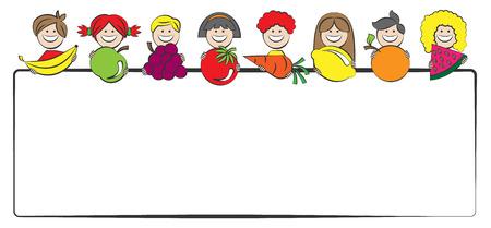 Vector children: trẻ em với hình minh họa các loại trái cây vector