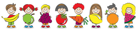 kids eating: children with fruits vector illustration