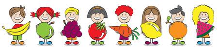 niños jugando en la escuela: niños con la ilustración vectorial frutas Vectores