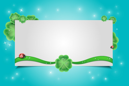 clover with a ladybug vector background Vector