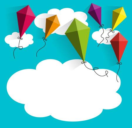 雲のベクトル図が付いている凧  イラスト・ベクター素材