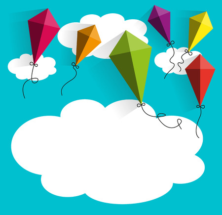 kites with clouds vector illustration