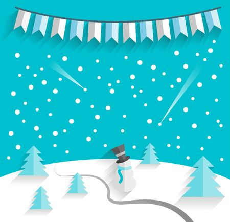 snow man: winter background with a snow man vector